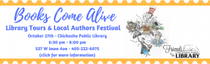 Library tours and Local Authors Festival October 27th 6:30 pm - 8:00 pm