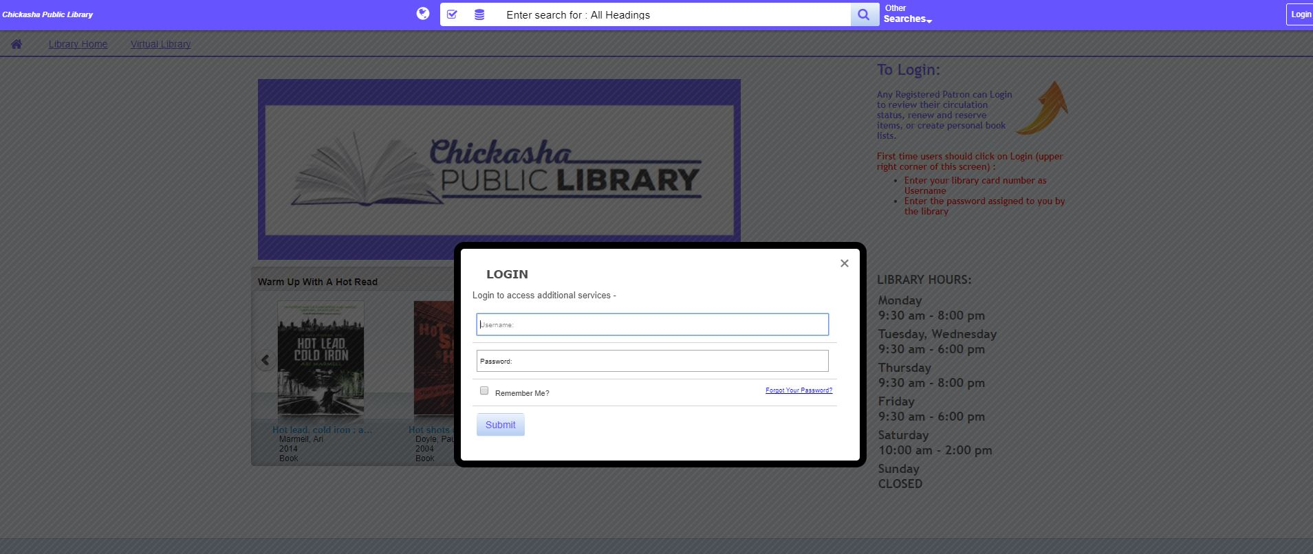 Patron login location for catalog