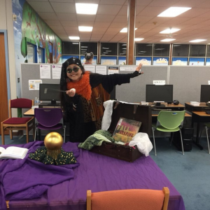Professor Trelawney Books visits the Library during Come Alive 2018