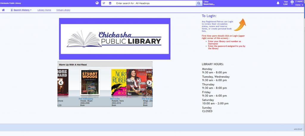 Chickasha Public Library catalog home page.