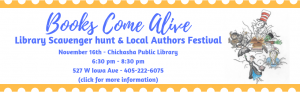 Books Come Alive and Local Authors Festival November 16th at the Library.