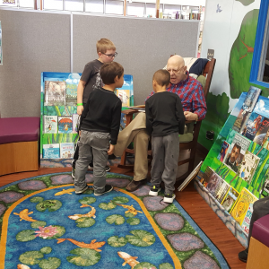 Stuart Meltzer, Library Board member, and retired USAO professor, read to children during our Spring Reading Program and also during our summer Storytime with Grandpa program.