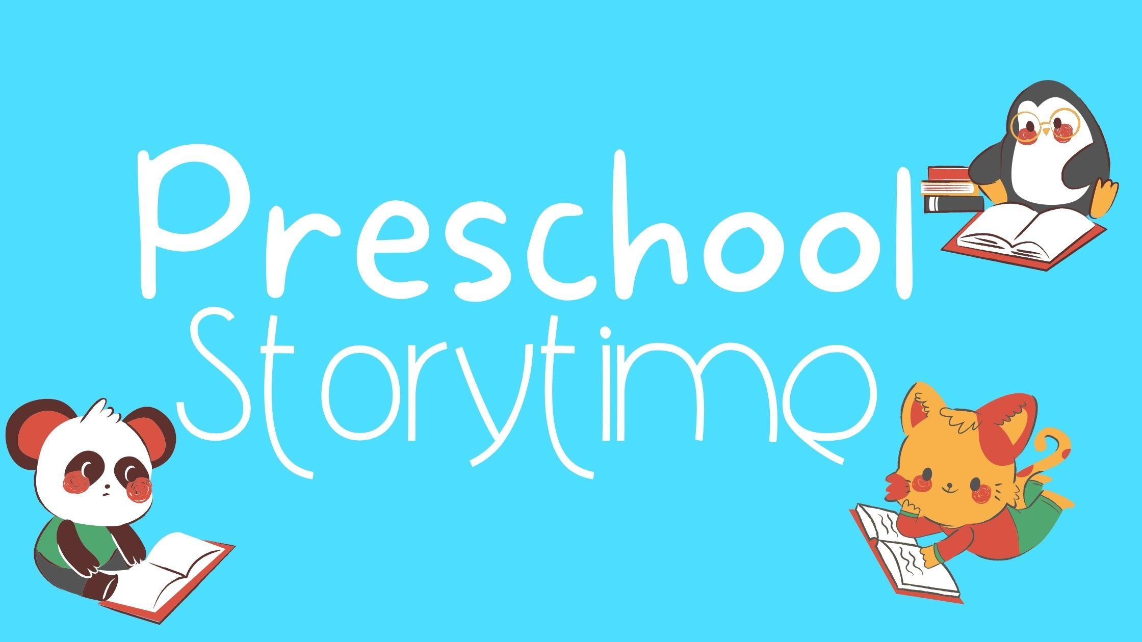 Preschool Storytime cute little penguin, cat, and panda read books