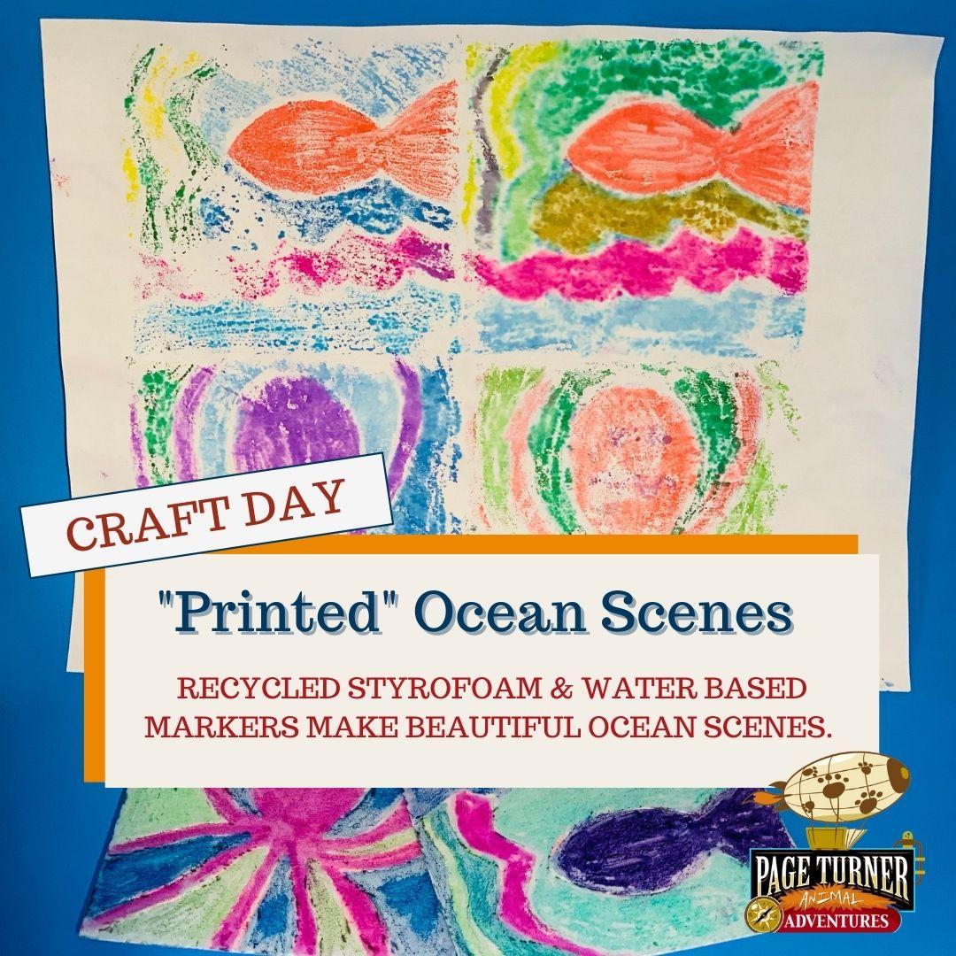 Week two craft day a printed ocean scene